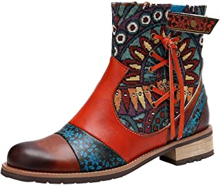 Kauneus Womens Boho Embroidery Booties Leather Hand Made Low Heel Ankle Boots Ladies Charming Boots