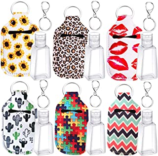6 Sets Bottle Holder and Keychain Kits, include Reusable Bottle Holders, 30 ml Empty Liquid Dispenser for Soap Lotion and ...