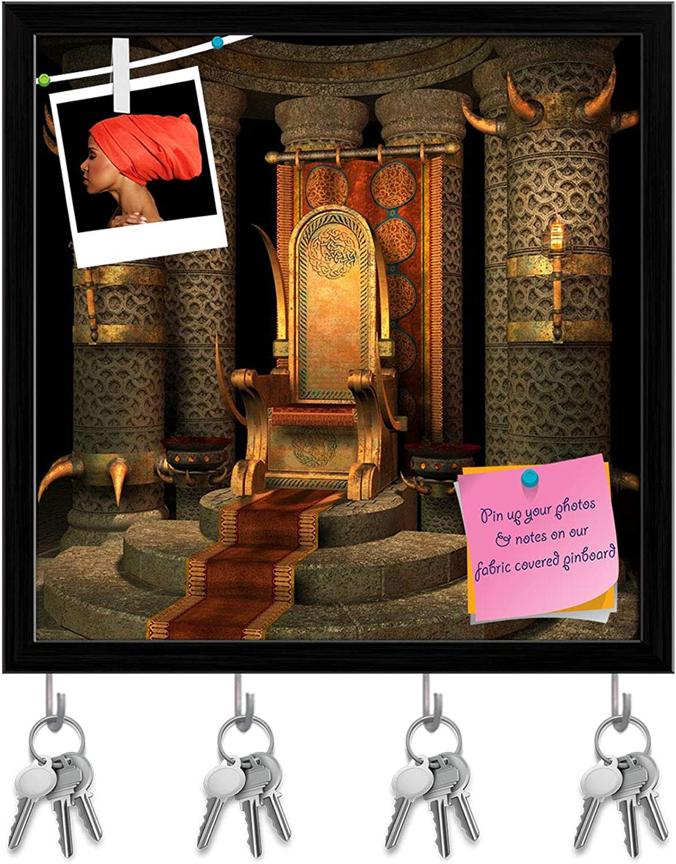 Artzfolio Fantasy Scenery Key Holder Hooks   Notice Pin Board   Black Frame 20 X 20Inch