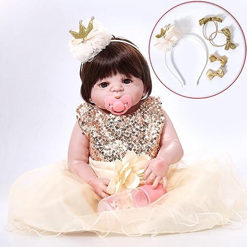 para barato Completo De Silicona De De De Vinilo Reborn Baby Doll Realistic Girl Babies Dolls 23 Pulgadas 58 Cm Realista De La Princesa Kids Toy Niños Regalo De Cumpleaños  salida de fábrica