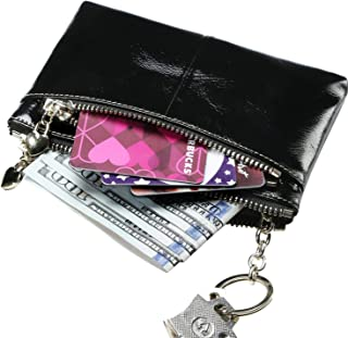 Itslife Women's Triple Zipper Leather Coin Purse Change wallet Coin Pouch RFID Card Holder with Key Ring