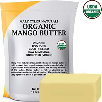Organic Mango Butter (1 lb), USDA Certified, Cold Pressed, Unrefined by Mary Tylor Naturals,Raw Pure Mango Butter, Skin Nourishment, Moisturizing