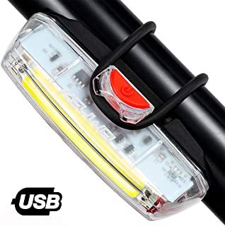 KEYWELL USB Rechargeable Bike Headlight-Super Bright LED Bicycle Front Light with Low Battery Indicator and Modes Memory Functions-Powerful Lumens for Cycling Safety Flashlight