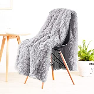 LOCHAS Super Soft Shagge Faux Fur Blanket Plush Fuzzy Bed Throw Decorative Cozy Fluffy Blankets for Couch Chair Sofa (Grey 50