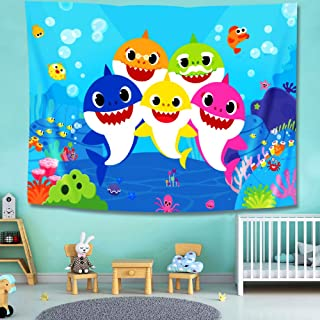 Baby Shower Little Shark Party Supplies Decorations - Wall Tapestry – Photography Backdrop Table Cloth Bed Cover Coverlet Beach Mat Picnic Blanket - Home Bedroom Living Room Dorm Wall Hanging Décor