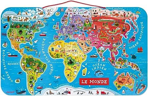Janod - Puzzle Carte du Monde Magnétique en Bois - 92 Pièces Aimantées - 70 x 43 cm - Version Française - Jeu éducati...