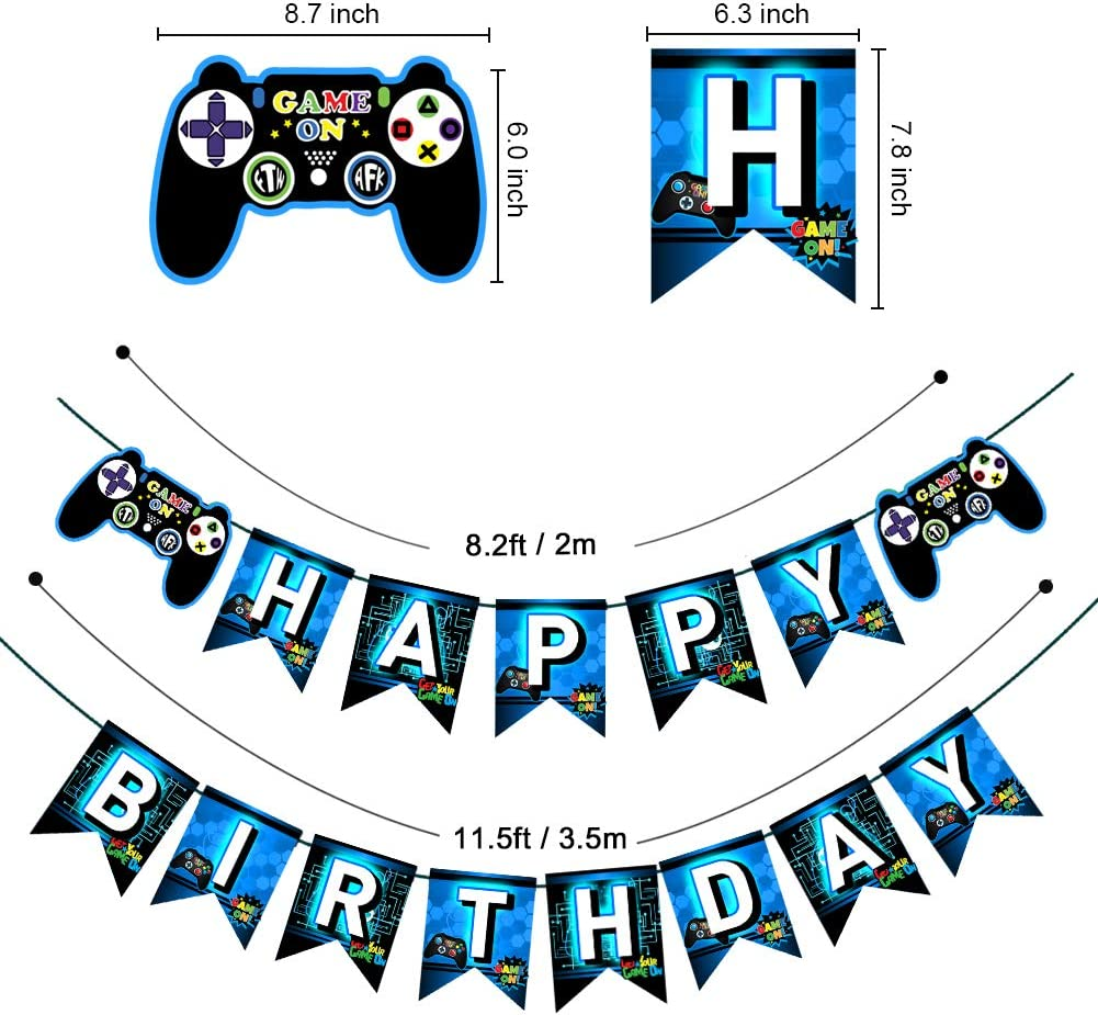 Buy TMCCE Blue Video Game Party Supplies Gaming Party Decoration ...