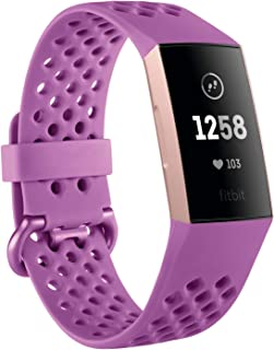 Fitbit Charge 3 Fitness Activity Tracker, FB409RGMG, Rose Gold/Berry