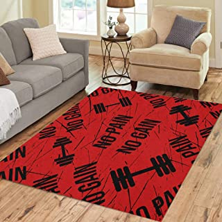 Pinbeam Area Rug Athletic No Pain Gain Red Blood Barbell Black Home Decor Floor Rug 5' x 7' Carpet