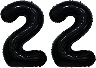ZiYan 40 Inch Giant 22th Black Number Balloons,Birthday/Party balloons