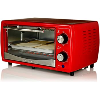Ovente Countertop 4 Slice Capacity Convection Toaster Oven with Baking Pan Crumb Tray & Grill Rack, Compact Easy Clean 700 Watt Stainless Steel Pizza Maker with Cool Touch Handle & Timer, Red TO6895R