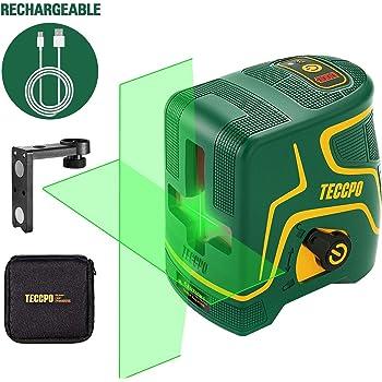 Niveau Laser,USB Charge,Laser Croix Vert 30m TECCPO,pour la Décoration Intérieure,Autonivellement et Mode Pulsé Extérieur,Support Magnétique,Horizontal et Verticale à 120°,360° Pivotant,IP54 -TDLS09P