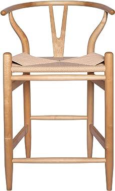 """Amazon Brand – Stone & Beam Wishbone Counter-Height Barstool, 35.5""""H, Rubberwood, Natural / Natural"""
