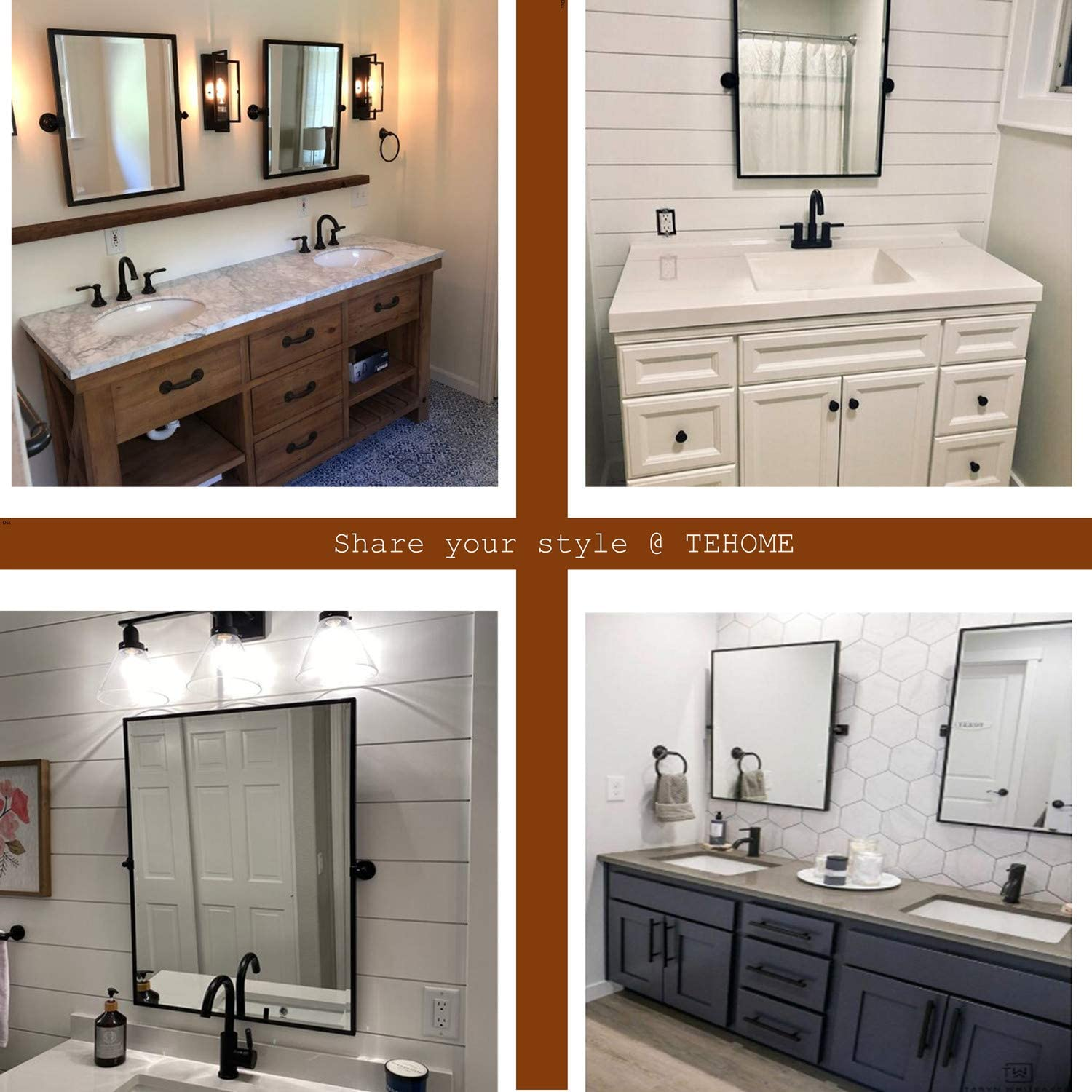 Buy Black Metal Framed Pivot Rectangle Bathroom Mirror Tilting Beveled Vanity Mirrors For Wall 23 X 24 Inches Online In Italy B082ywh9xs