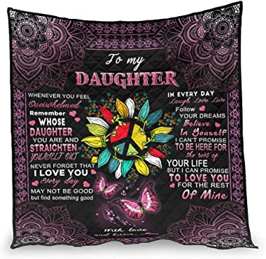 chvcodd to My Daughter,Gifts for Special Day Air Conditioner Quilt Soft Comforter Nordic Style Pattern Fit for Sofa Best Gift