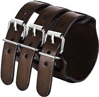 EVER FAITH Cool Hand Accessory 3 Layer Wide Belt Genuine Leather Men Wristband Bracelet Unisex Couple