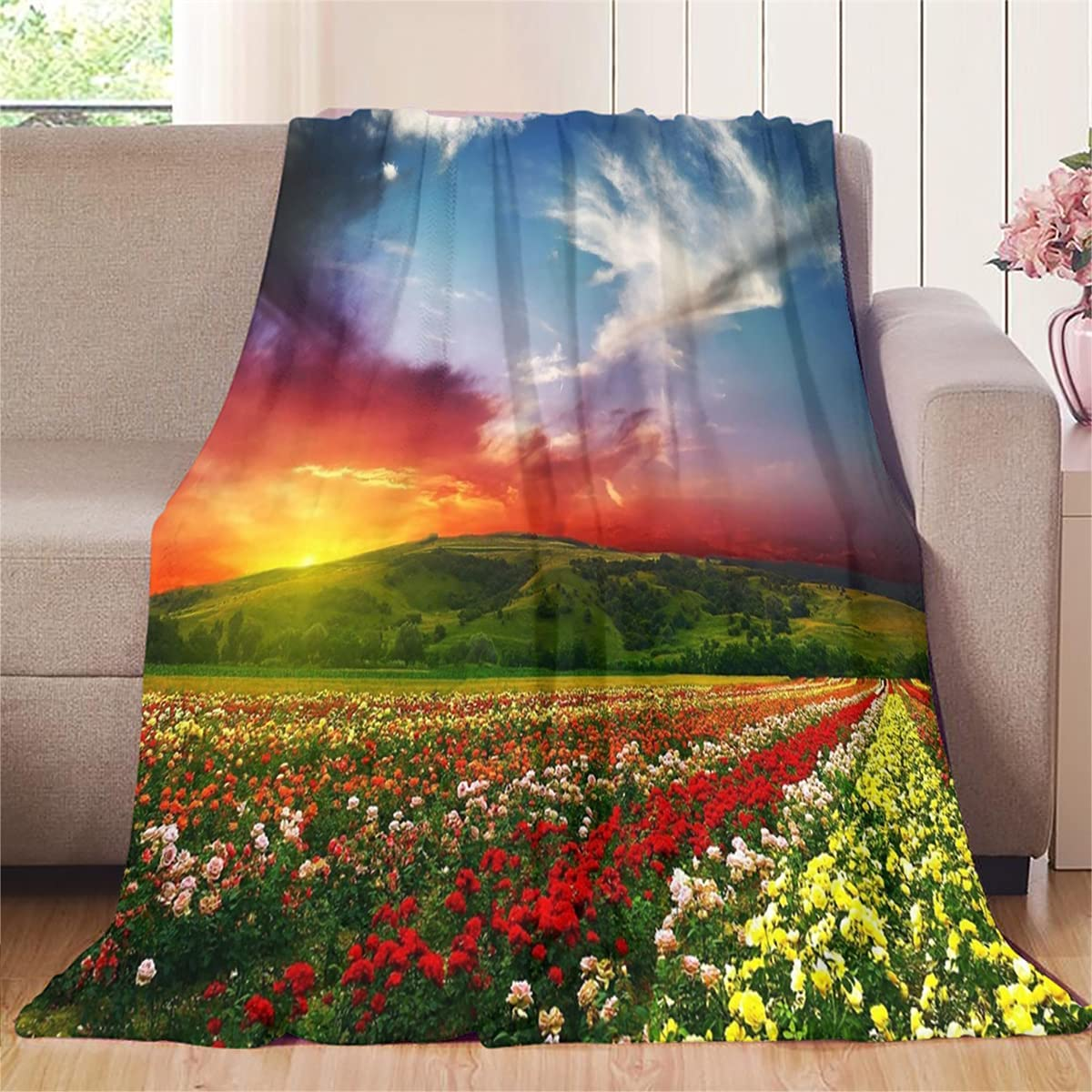 Flannel Blanket Large Neat Sunset in NEW The of Suitable Mesa Mall Sea Flowers