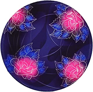 BOSOBO Mouse Pad, Personalized Round Mouse Mat, Beautiful Oil Painting Flowers Mouse Mat with Stitched Edges, Cute Small Anti-Slip Rubber Mouse Pad for Women and Girls Office, 7.9 x 7.9 Inch, Purple