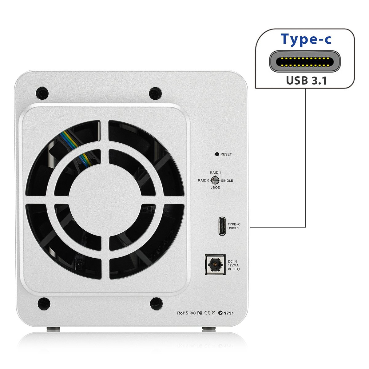 TerraMaster D2-310 USB Tipo C Disco Duro Externo Raid Caja USB3.1 (Gen1, 5Gbps) 2 Bahía Raid Almacenamiento (Sin Disco): Amazon.es: Electrónica