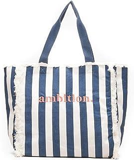 s.Oliver Damen Canvas-Shopper mit Stickerei dark blue stripes 1