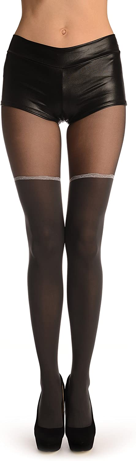 Grey With Opaque Faux Stockings & Light Grey Laced Top - Pantyhose (Tights)