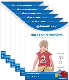 "Printworks Dark T-Shirt Transfers for Inkjet Printers, for Use on Dark and Light/White Fabrics, Photo Quality Prints, 6-Pack (30 Sheets), 8 ½"" x 11"" (00529C)"