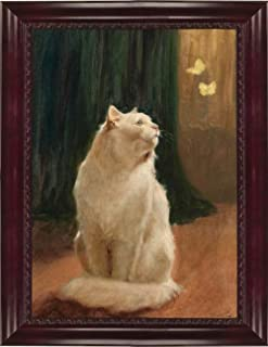 Victorian Trading Co. White Long Hair Persian Cat and Butterflies Unframed