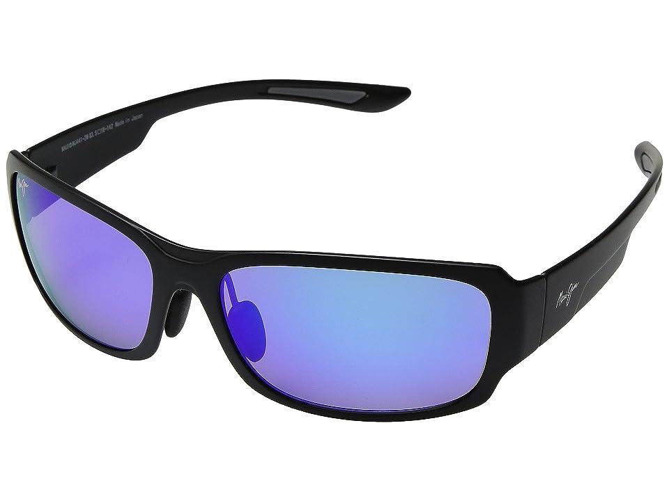 Maui Jim Monkeypod (Matte Black/Blue Hawaii) Athletic Performance Sport Sunglasses