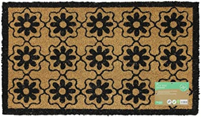 JVL Simple Prints Latex Backed Coir Entrance Door Mat Flower Design, Brown, 40 x 70 cm