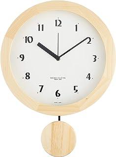 さんてる 天然木 電波振り子 柱時計 日本製掛け時計 ナチュラル DNB501B-NA φ250×340×60mm