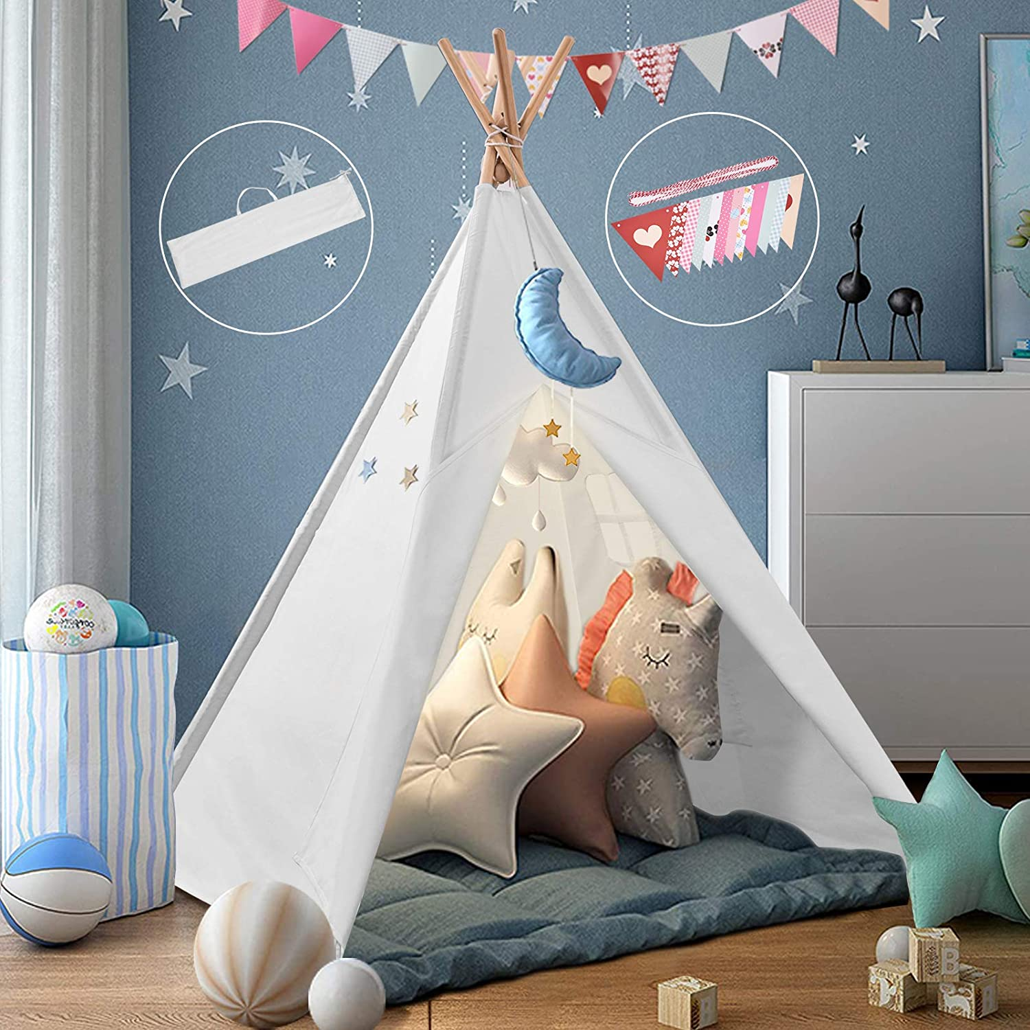 Houssem Teepee Large Phoenix Mall Cotton Cloth f Los Angeles Mall Play Foldable Kids-Tent Tent