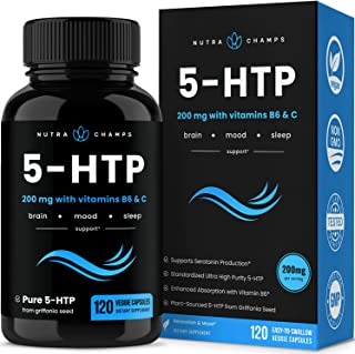 5-HTP 200mg Supplement - 120 Capsules - Natural Support for Brain, Mood & Sleep - Calm & Relaxing Serotonin Boost - 100mg ...