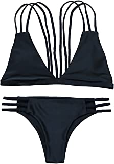 OMKAGI Women Halter Fashion Sexy Swimwear 2 Pieces Swimsuit Bikini Set with Small Strap