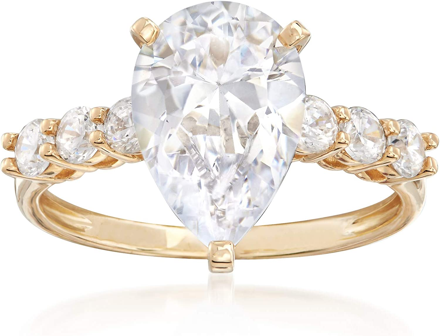 Ross-Simons 3.60 ct. t.w. Pear-Shaped and Round CZ Ring in 14kt Yellow Gold