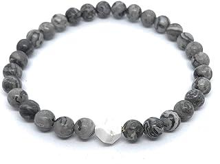Pulsera de hombre elástica piedra natural jaspe gris y howlita blanca