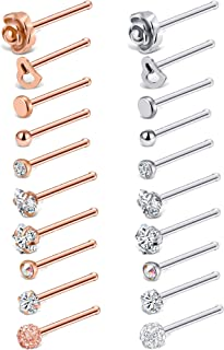 Tornito 20G 20Pcs Stainless Steel Nose Bone L Shaped Screw Studs Rings CZ Nose Ring Labret Nose Piercing Jewelry for Men Women (A1:20Pcs)