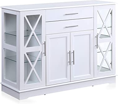 "BELLEZE Ryland 47"" Wood Storage Sideboard Buffet Cabinet Console Table, White"