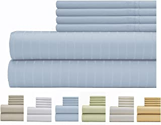 Weavely Sheet Set - 700 Thread Count Cotton-Poly Blend Bed Sheet, Pin Stripe 6 Piece Bedding Set, Hotel Quality Sheet Set with 2 Extra Pillow Cases, 15 inch Elastic Deep Pocket Fitted Sheet-Queen-Blue