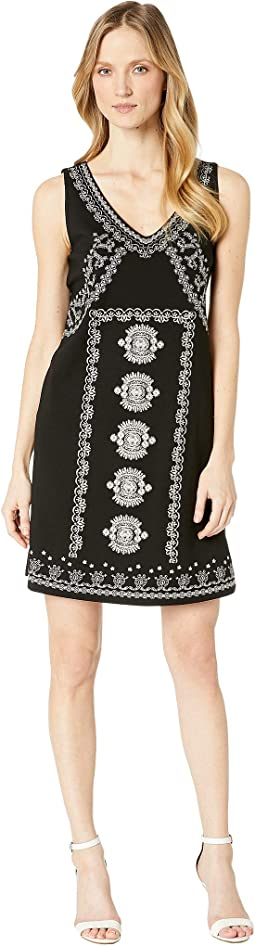 Jersey Sleeveless Dress w/ Embroidery