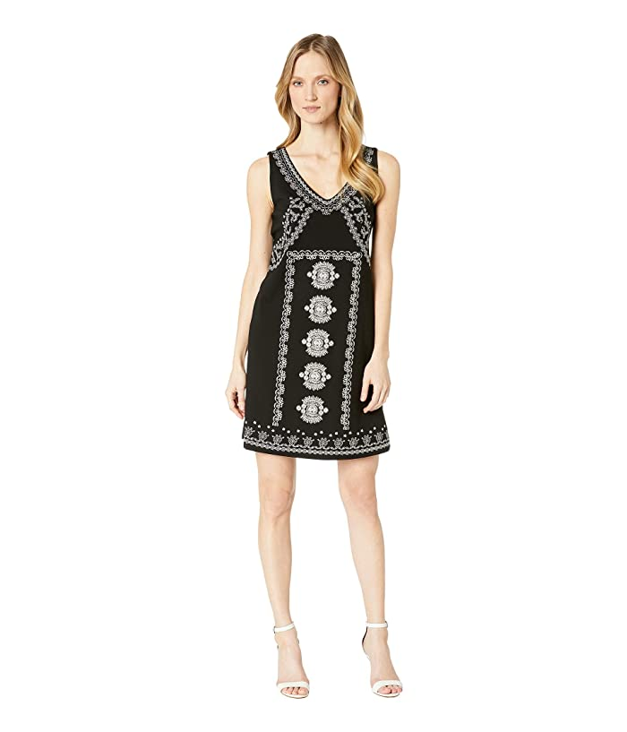 Tribal Jersey Sleeveless Dress w/ Embroidery (Black) Women