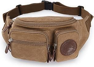 Muzee Mens Canvas Waist Pack Running Sling Backpack Crossbody Bag Fanny Packs