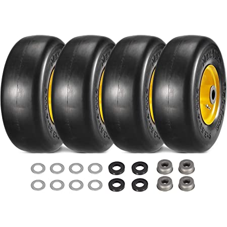Two 9x350x4 Dual Velke Flat Proof Tire and Wheel assemblies