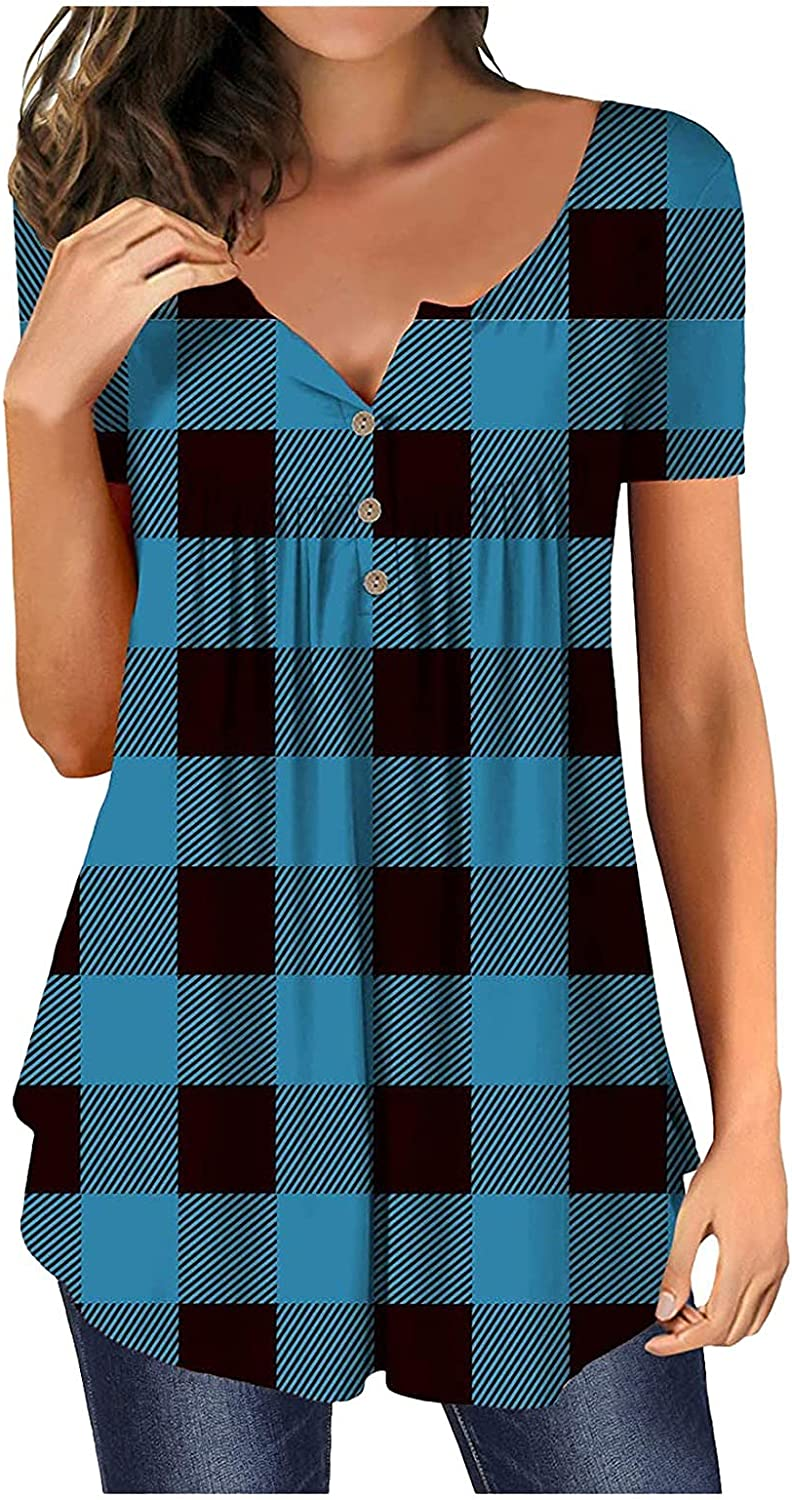 FABIURT Tops for Women Summer Short Sleeve Tunic Tops V Neck Fashion Plaid Printed Tees Shirt Casual Loose Comfy Blouses