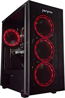 Periphio Red Gaming PC Tower Desktop Computer, Intel Quad Core i7 3.3GHz, 16GB RAM, 512GB SSD + 1TB 7200 RPM HDD, Windows 10, GTX 1650 Super Graphics Card, RGB, HDMI, Wi-Fi (Renewed)