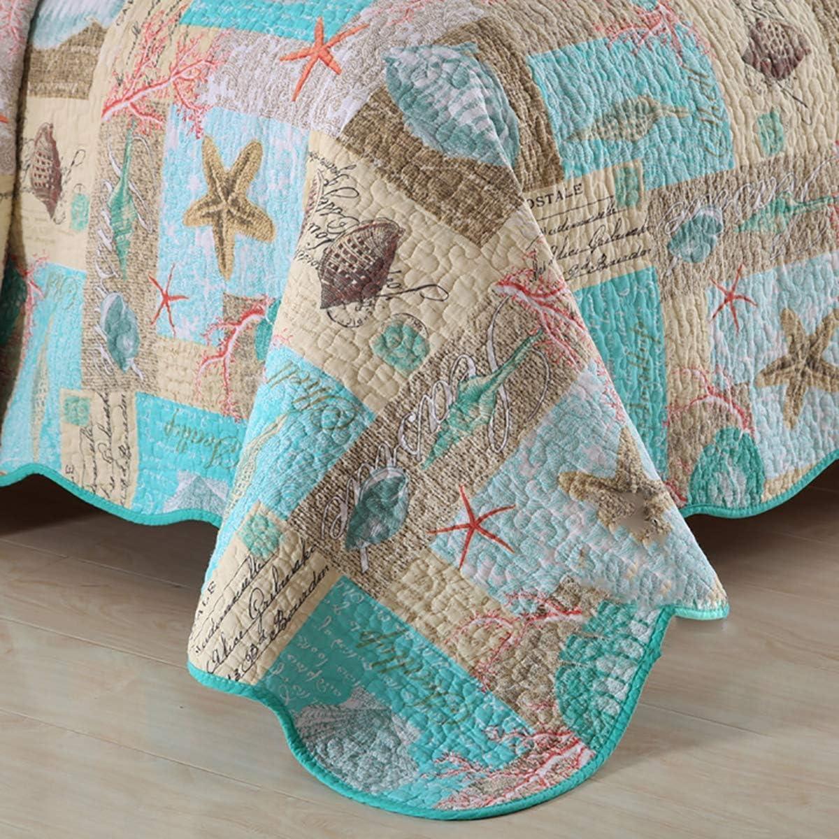 WYYAF Couvre-lit Double 3 matelassée Piece Coton matelassée Couvre-lit, Thème Marine Style Lavable et Confortable Couvre-lit en été, B, 230 * 250cm A