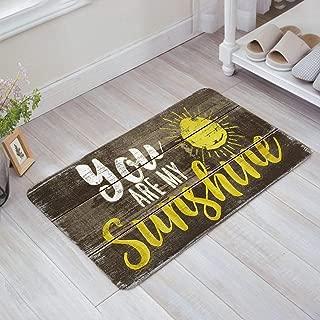 ALAGO Vintage You are My Sunshine Wood Sign Doormats Entrance Front Door Rug Outdoors/Indoor/Bathroom/Kitchen/Bedroom/Entryway Floor Mats,Non-Slip Rubber,Low-Profile