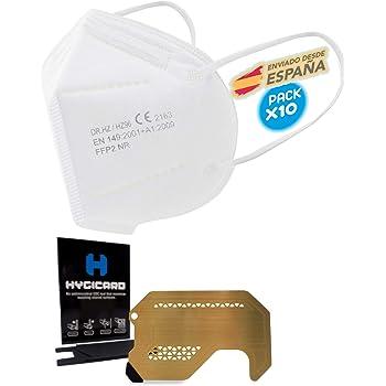 10 Mascarillas Blancas FFP2 UltraProteccion + 1 Tarjeta anticontacto HYGICARD™