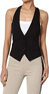 Women Plus Dressy Casual Versatile Racerback Vest Tuxedo Suit Waistcoat