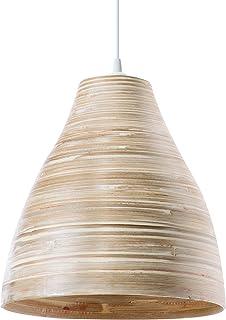 LUSSIOL Luminaire Calculta pm, suspension bambou, 60 W, naturel, ø 30 x H 33 cm