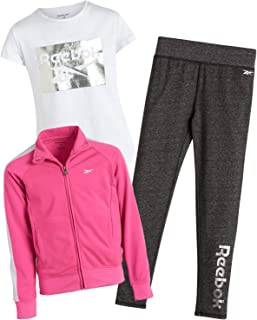 Reebok Girls' Activewear Set with T-Shirt, Leggings, and Tricot Jacket (3-Piece), Sugar Plum, Size 7